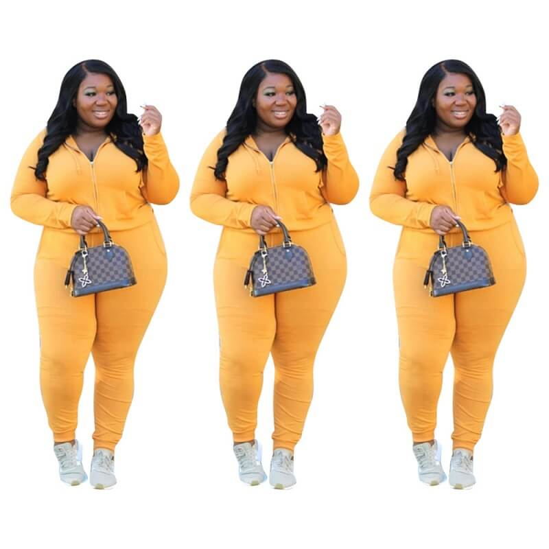 Plus Size Solid Color Long Sleeve Suit - yellow color