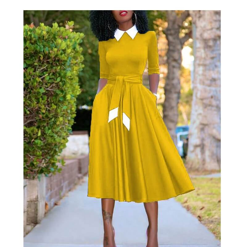 Plus Size Easter Dresses - yellow color