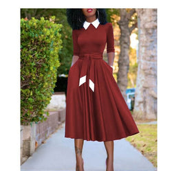 Plus Size Easter Dresses - wine red color
