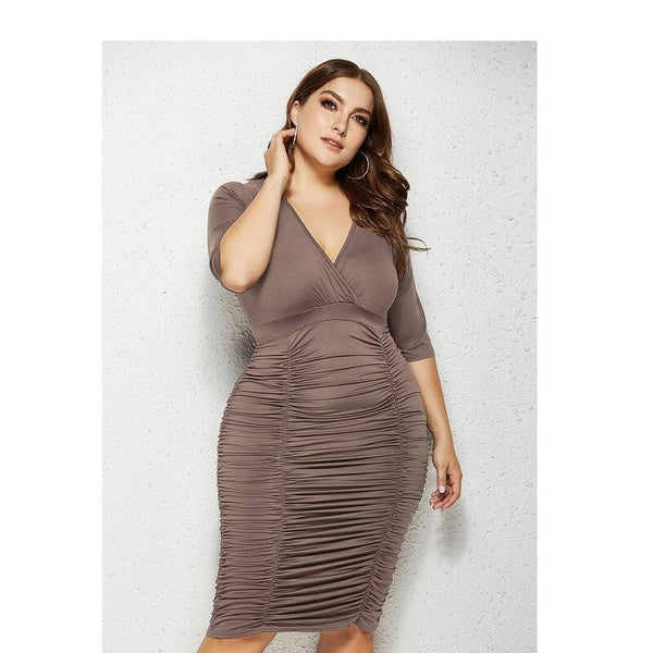 Solid Plus Size Purple Dress