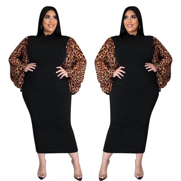 Leopard Plus Size Little Black Dress