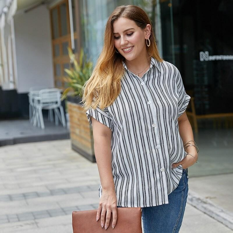 Plus Size Striped Blouse - white color