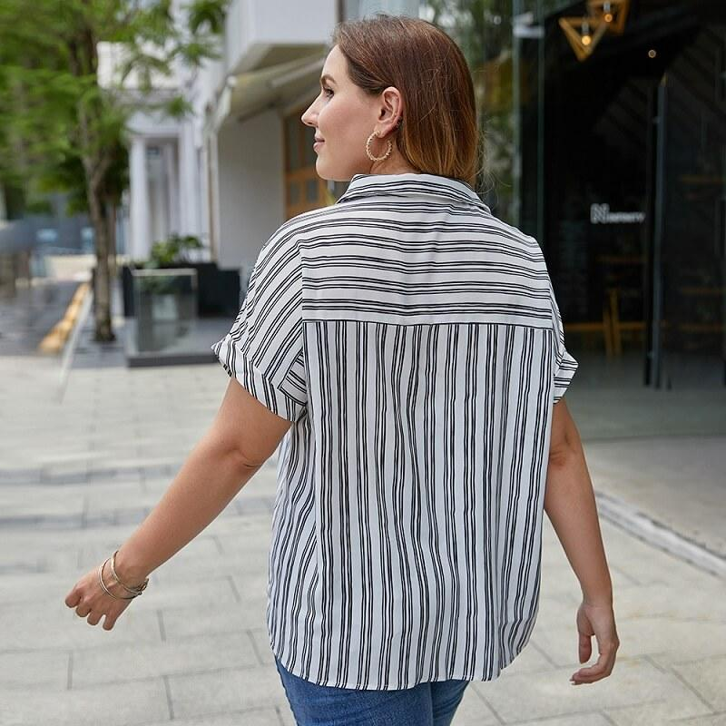 Plus Size Striped Blouse - white back