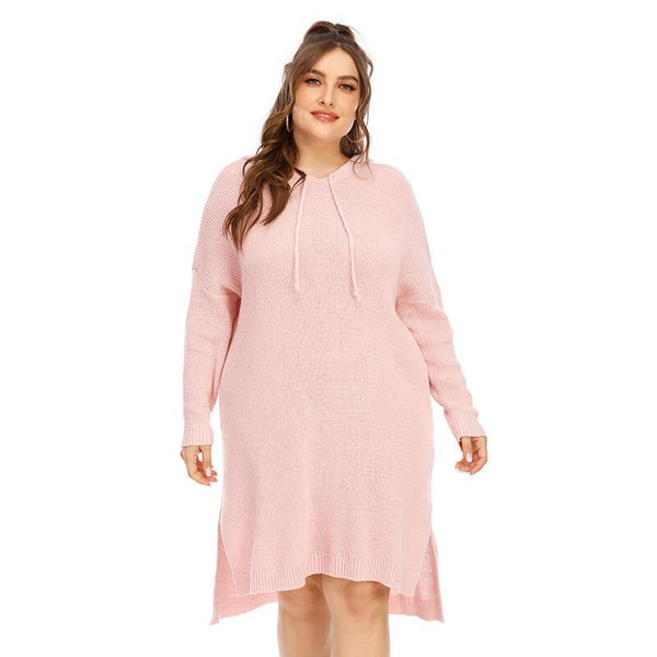 Plus Size Sweater Dress - pink color
