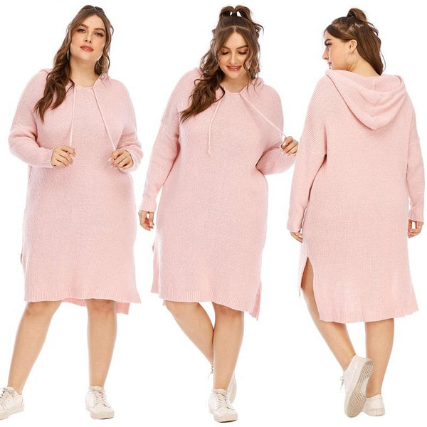Plus Size Sweater Dress - pink main picture