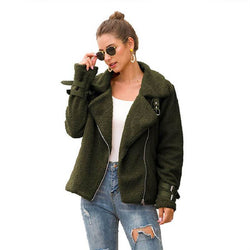 Plus Size Teddy Fur Coat - military green color
