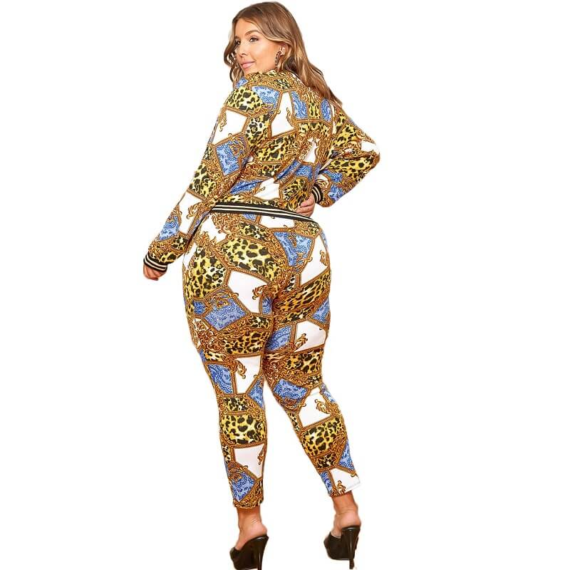 Plus Size Two Piece Outfits - leopad  print back