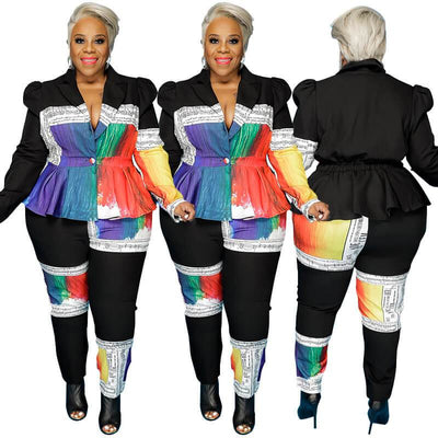 Plus Size Two Piece Pant Sets - black multi player