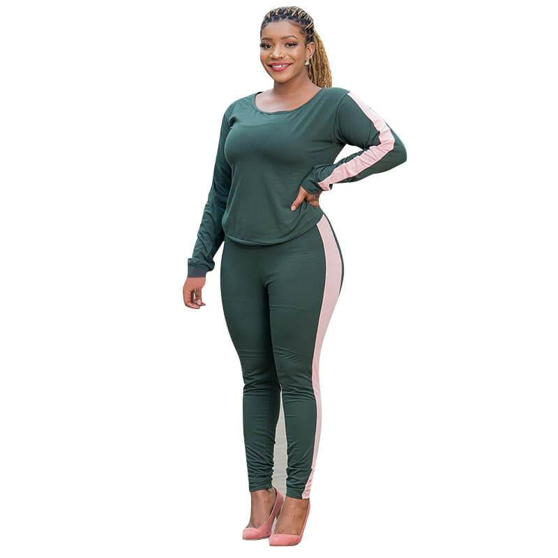 Three Color Plus Size Two Piece Sweatsuit  - dark green side