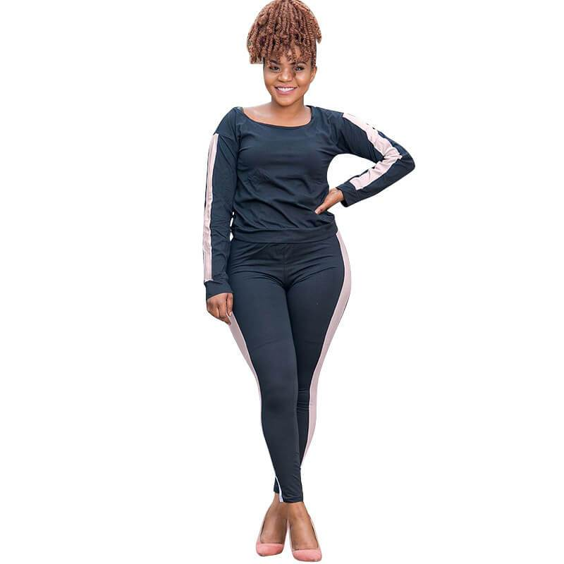 Three Color Plus Size Two Piece Sweatsuit  - black color