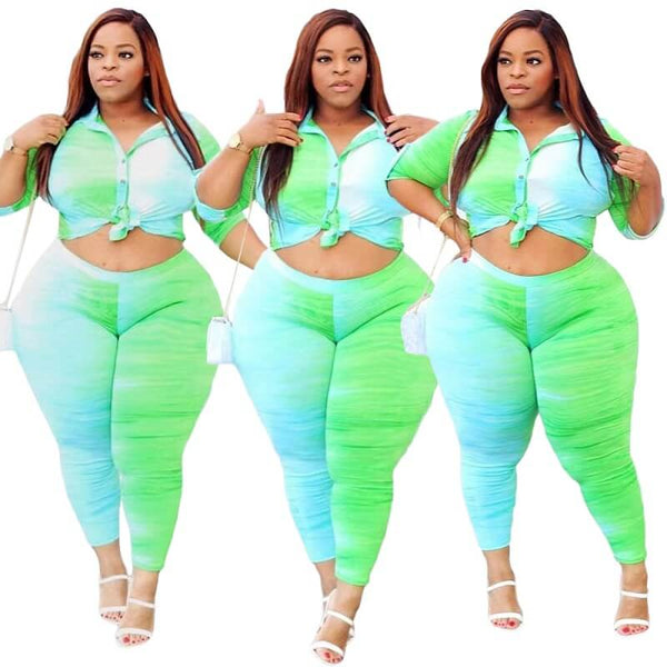Plus Size Umbilical Print Set - green main picture