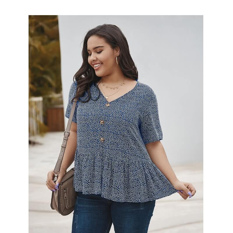 Plus Size V Neck Blouse - blue color
