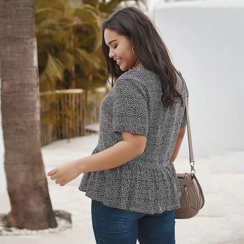 Plus Size V Neck Blouse - black back