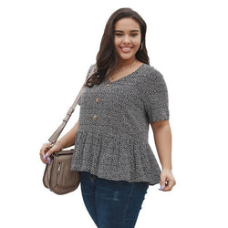 Plus Size V Neck Blouse - black color