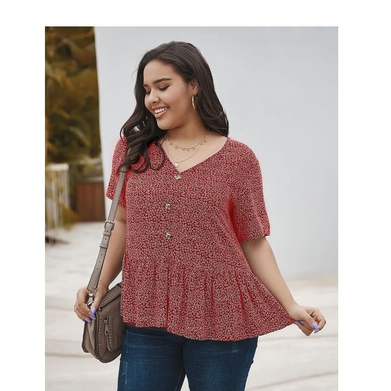 Plus Size V Neck Blouse - red back