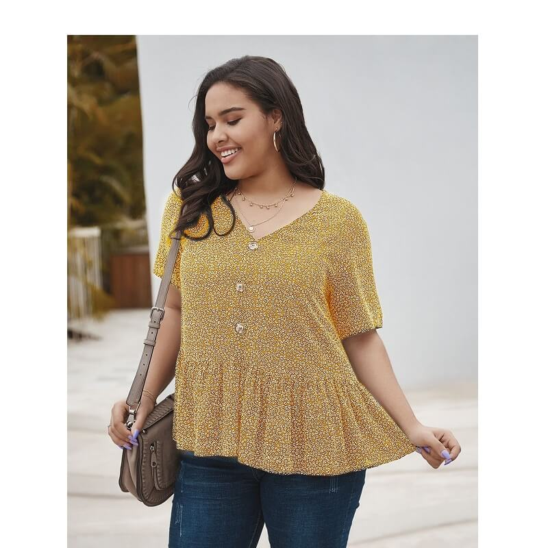 Plus Size V Neck Blouse - yellow back
