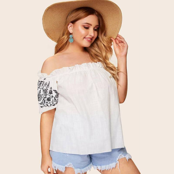 Plus Size White Blouse with Ruffles - white right