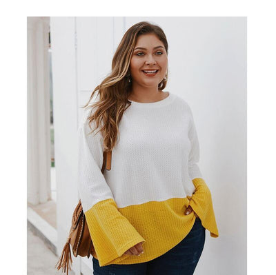 Plus Size Yellow Sweater - yellow color
