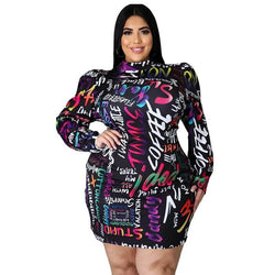 Plus Size Christmas Dress - black positive
