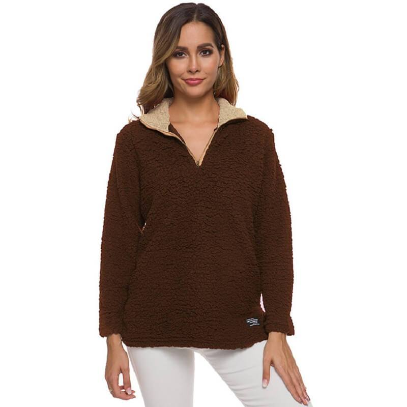 Plus Size Cashmere Sweater - brown color