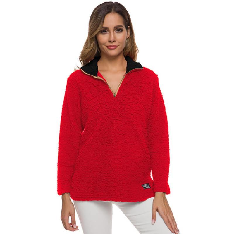 Plus Size Cashmere Sweater - red color