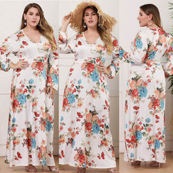 Long Sleeve Plus Size Formal Dresses - white main picture