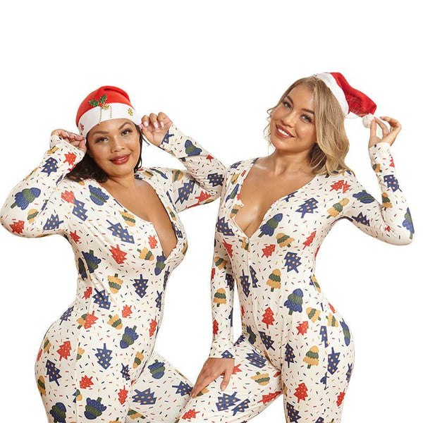 Plus Size Printed Christmas Women's Jumpsuits.