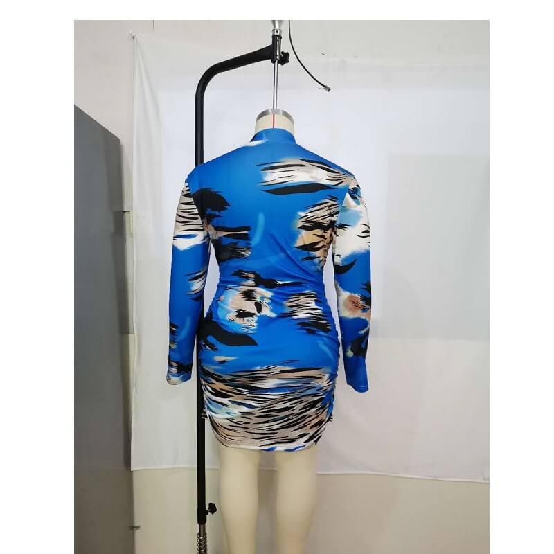 Plus Size Printed Long Sleeve Dress
