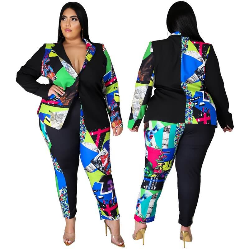Printed Suit Jacket Two-piece Set.