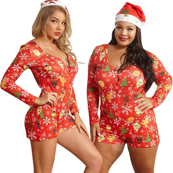 Plus Size Printed Tight-fitting Christmas Home Jumpsuit