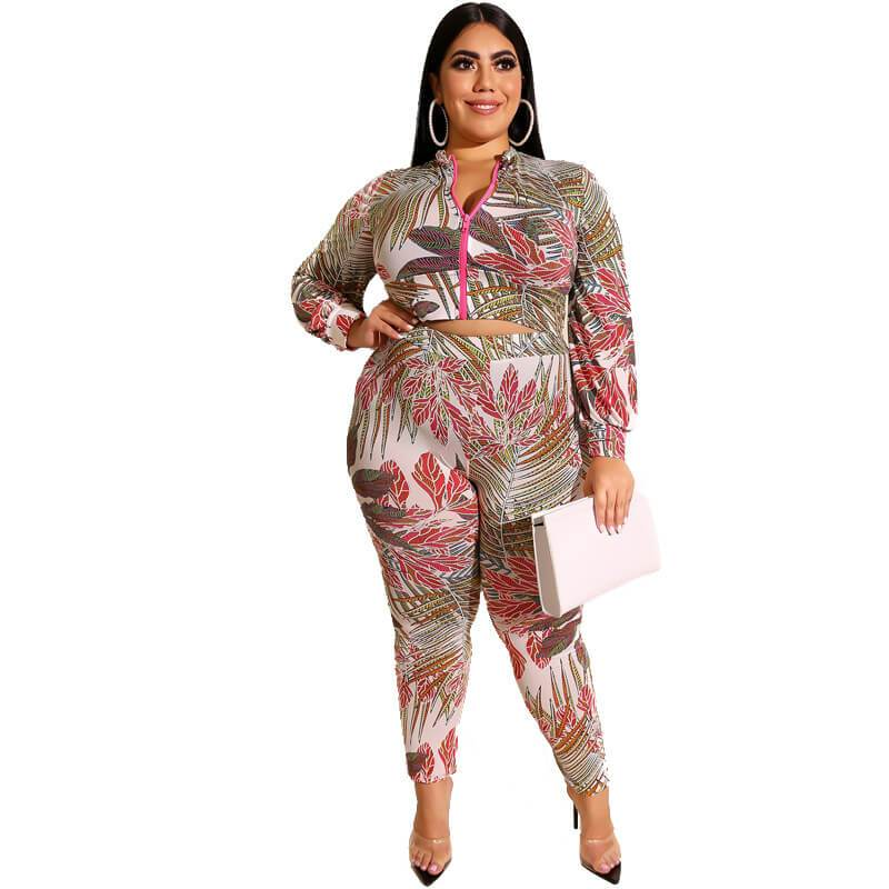 Plus Size Printed Zipper Suit - red color