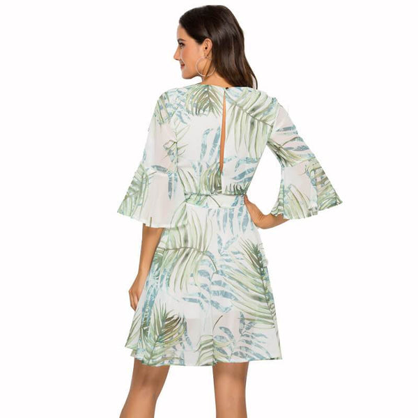 Printed Chiffon Flared Sleeves Dress
