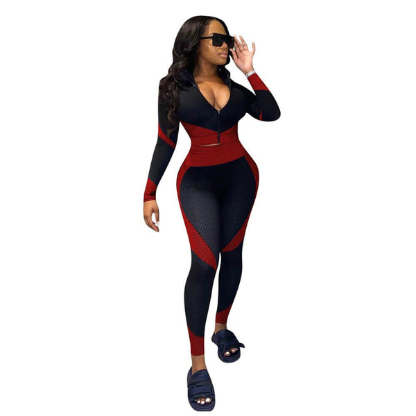 Plus Size Printed Long-sleeved Sports Fashion Suit