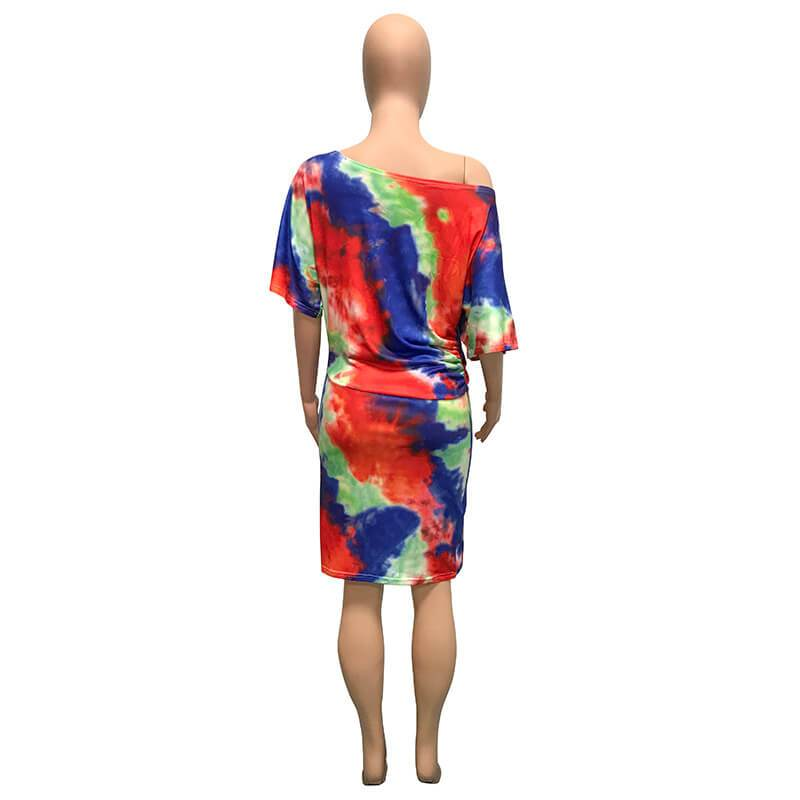 Printed Tie Dye Twill Elastic Waist Dress