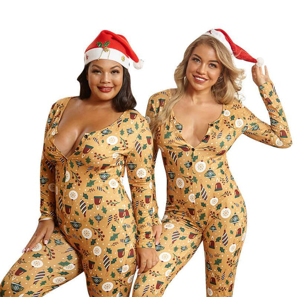 Printed Tight Sexy Christmas Jumpsuits.