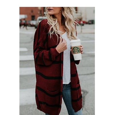 Red Cardigan Sweater Plus Size - wine red color