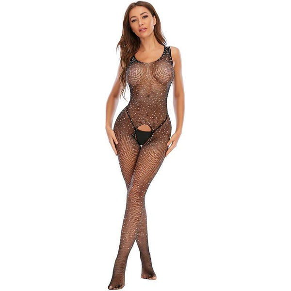 Black Fishnet Bodystocking  - Model View