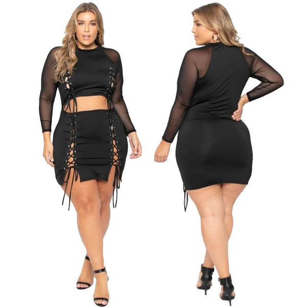 Plus Size See Through Tight Sexy Short Bandage Suit