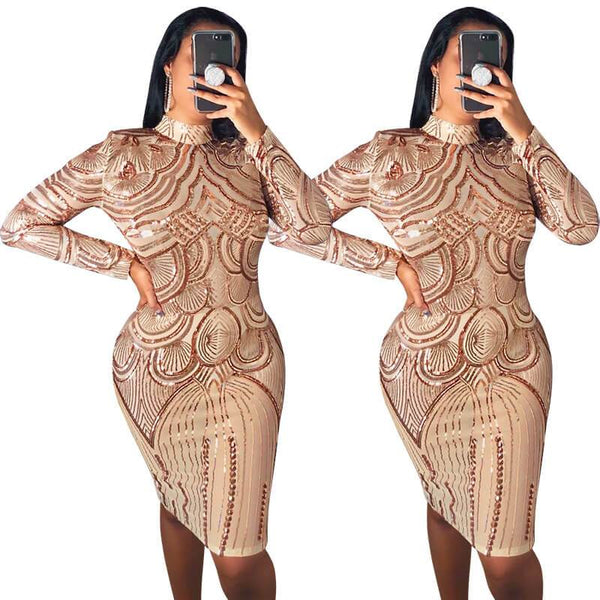 Sequined high neck long sleeve women's dress