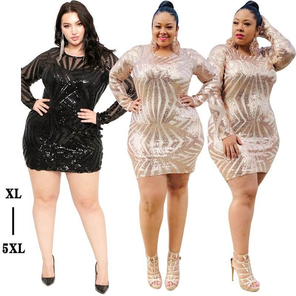 Sexy Sequins Plus Size Formal Dresses