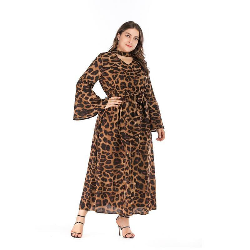 Sexy Dress with Collar Leopard Print Flare Plus Size