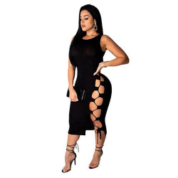 Sexy High Slit Dress - black color front view Chic Lover