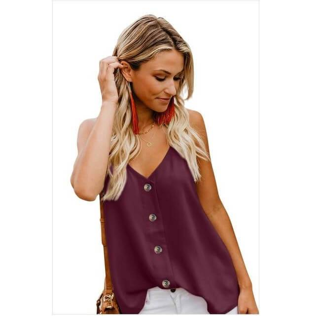 Sexy V Neck Solid Color Tops