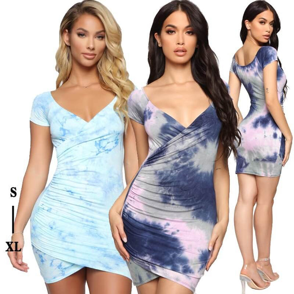 Summer Sexy V-neck Dyed Dress