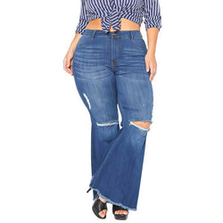 Plus Size Fashionable Stretch Slim Jeans With Torn Knees