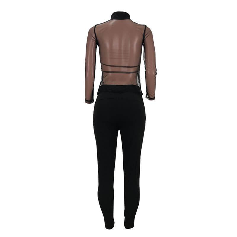Plus Size Sexy Mesh Stitching Letters Two Piece Casual Suit
