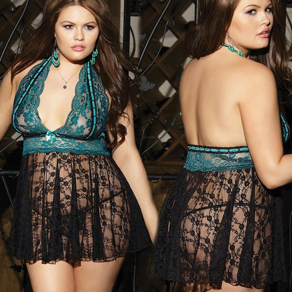 Plus Size Sexy Lace Suspender Skirt
