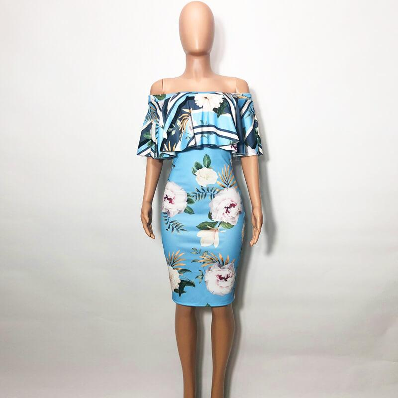 Sexy Printed Dress With Lotus Leaf On One Shoulder