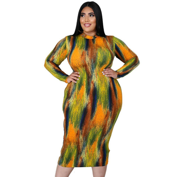Sexy Tall Long-sleeved Tie-dye Dress
