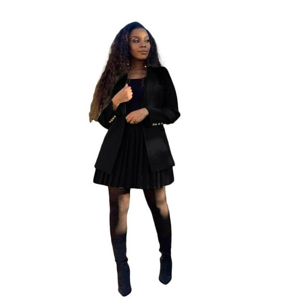 Short Skirt and Suit Jacket Plus Size - black color